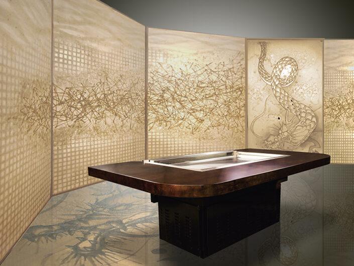 Illuminated Glass Laminated Washi with Smokeless Hibachi Roster