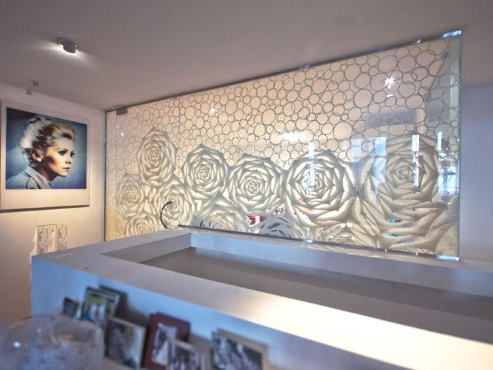 Custom Art Washi Laminated Glass Wall