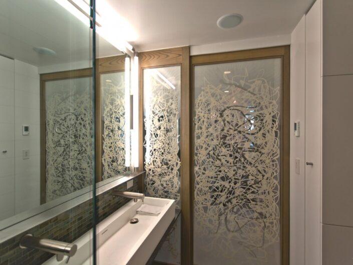 Calligraphic Washi Sliding Doors for Modern Bathroom