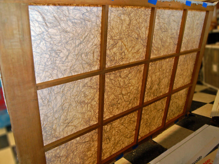 Washi Parchment Featured in the Showroom of World Renowned Wood Worker / Furniture Designer